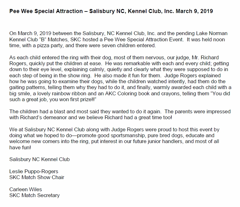Salisbury North Carolina Kennel Club